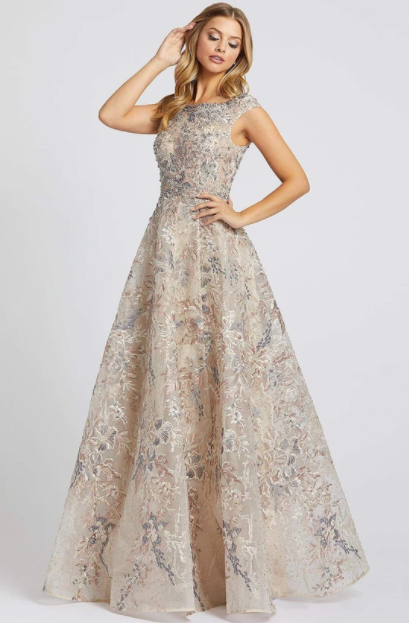 MAC DUGGAL EVENING - 20219D CAP SLEEVE FLORAL EMBROIDERED A-LINE GOWN